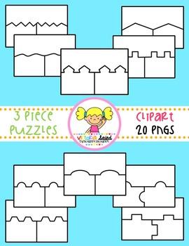 Puzzle Clipart {3 Piece Templates}