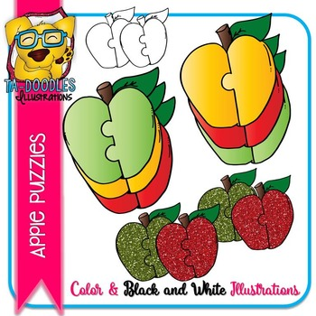 Puzzle Clipart :  Apples Glitter and Color Commercial Use