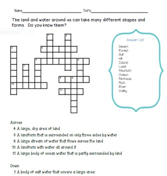 Crossword Puzzle - Communities - Geography Review