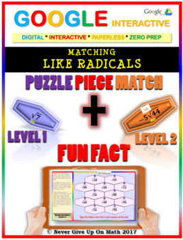Puzzle & Fun Fact: Matching Like Radicals {2 Levels} (Google Interactive & Copy)
