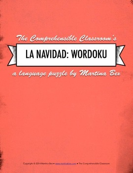 Puzzle: La Navidad Wordoku - Christmas vocabulary in Spanish