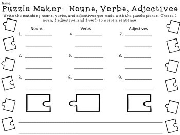 Puzzle Maker:  Matching Parts of Speech