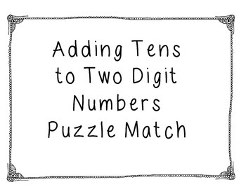 Puzzle Match! Adding tens to a two Digit Number