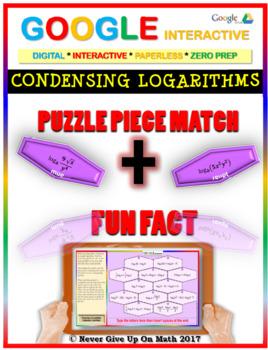 Puzzle & Fun Fact: Condensing Logarithms (Google Interactive & Hard Copy)