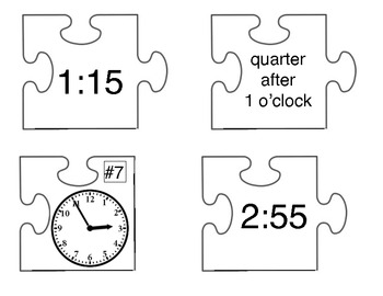 Puzzle Me! Center: Time -  5 Minute Increments (self-checking)