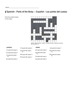 Spanish Vocabulary - Parts of the Body Crossword Puzzle