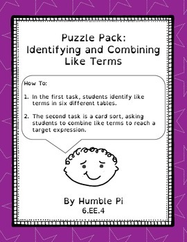 Puzzle Pack: Identifying and Combining Like Terms- 6.EE.4