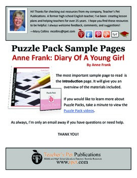Puzzle Pack Sampler Anne Frank Diary of a Young Girl