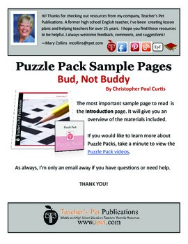 Puzzle Pack Sampler Bud Not Buddy