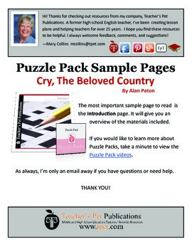Puzzle Pack Sampler Cry the Beloved Country