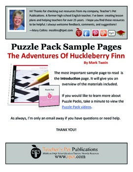 Puzzle Pack Sampler The Adventures of Huckleberry Finn