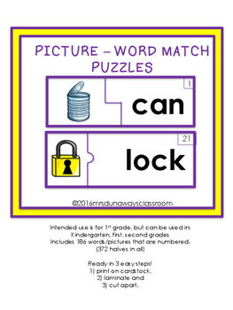 Puzzle: Picture-Word Match Gr. 1
