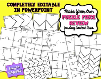 Interactive Notebook Puzzle Review Activity Editable for Any Subject