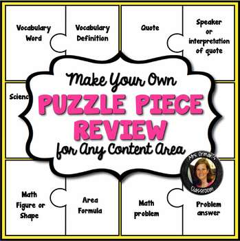 Interactive Notebook Puzzle Review Activity Editable for A