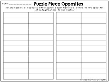 Puzzle Piece Opposites A Matching Game