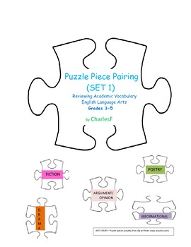 Puzzle Piece Pairing--Review of Academic Vocabulary, Set 1 for ELEMENTARY