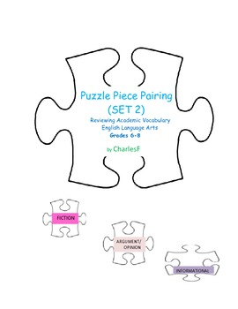 Puzzle Piece Pairing--Review of Academic Vocabulary, Set 2 for MIDDLE SCHOOL