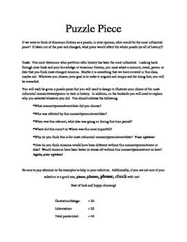 Puzzle Piece Project - U.S. History