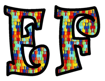 Puzzle Pieces Bulletin Board Letters