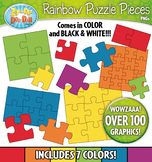 Rainbow Puzzle Pieces Clipart {Zip-A-Dee-Doo-Dah Designs}