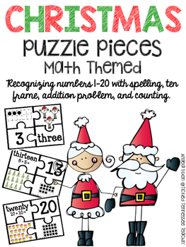 Puzzle Pieces Numbers 1-20 - Christmas Themed
