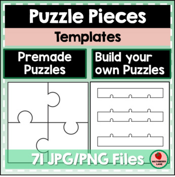 Puzzle Pieces Templates Long Whole And Split Pieces By Mathberry Lane