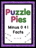 Puzzle Pies - Subtracting by 0 & 1 Facts - Math Centers or Games {PP}