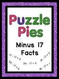 Puzzle Pies - Subtracting by 17 Math Facts - Activities or Games - $1 Deals