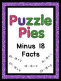 Puzzle Pies - Subtracting by 18 Math Facts - Centers or Games - $1 Deals