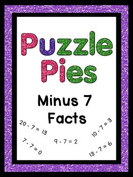 Puzzle Pies: Subtracting by 7 Math Facts for Stations or Games {PP} Dollar Deals