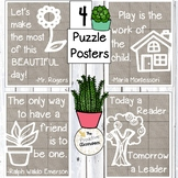 Puzzle Posters Classroom Decor, Burlap, Farmhouse, Calming, Today a Reader