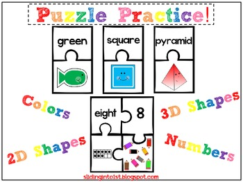 Puzzle Practice-Colors, Shapes, Numbers
