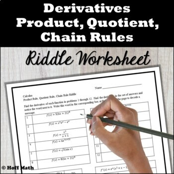 Product Quotient Chain Rules RIDDLE WORKSHEET