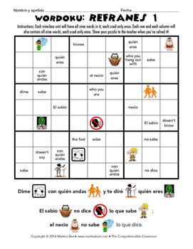Puzzle: Refranes Wordoku 1