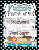 Puzzle Set Crossword & Word Search Pack of 40! NO PREP! Print and Go!