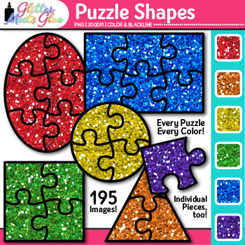Puzzle Shape Clip Art {Great for Brain Teasers, Math Games