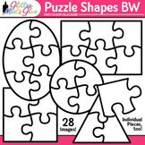 Puzzle Shape Clip Art {Brain Teasers, Math Games, & Word Problems} B&W