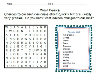 Crossword Puzzles - Slowly Changing Landforms