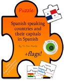 Puzzle: Spanish speaking countries, their capitals in Spanish + flags (español)
