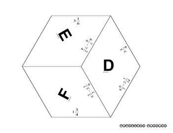 Puzzle - Subtract Mixed Numbers with Unlike Denominators - no borrowing - PP