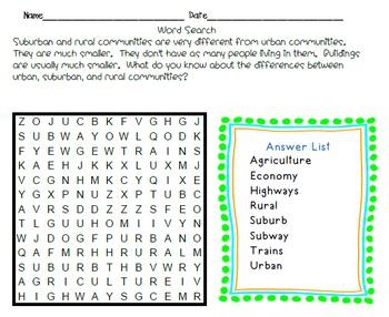 Crossword Puzzles - Suburban and Rural Communities