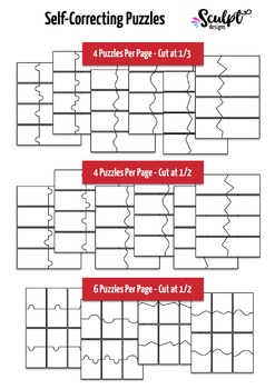Puzzle Templates ~  For Self-Correcting Puzzles