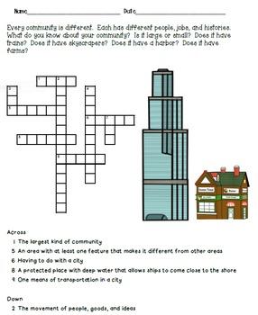 Crossword Puzzles - Urban Communities
