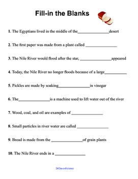 Science of Ancient Egypt Worksheet BUNDLE