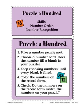 Puzzle a Hundred (Number Recognition and Order)