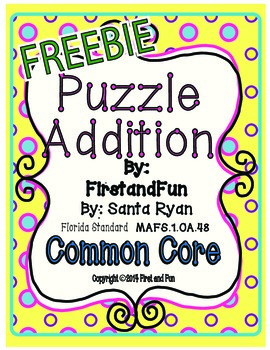 Puzzle addition Cover Freebie