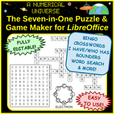 Seven-in-One Puzzle & Game Maker / Generator BINGO Crosswords Word Search & More