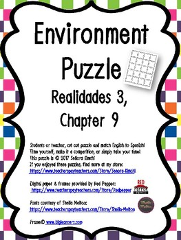 Puzzle for Environment & Planet Vocabulary (Realidades 3, Chapter 9)