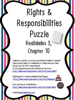 Puzzle for Rights & Responsibilities Vocabulary (Realidades 3, Chapter 10)
