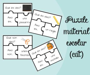 Puzzle material escolar (cat)